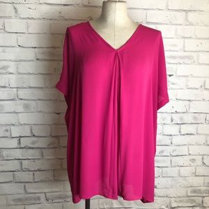 Fuscia pink cold shoulder top. 1X
